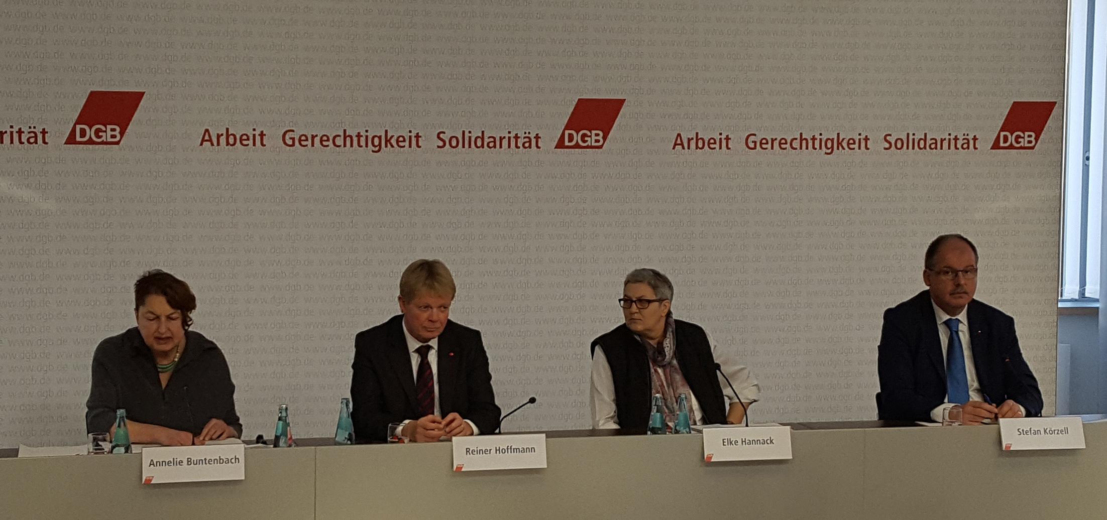 Elke Hannack auf der DGB Jahresauftackt Pressekonferenz