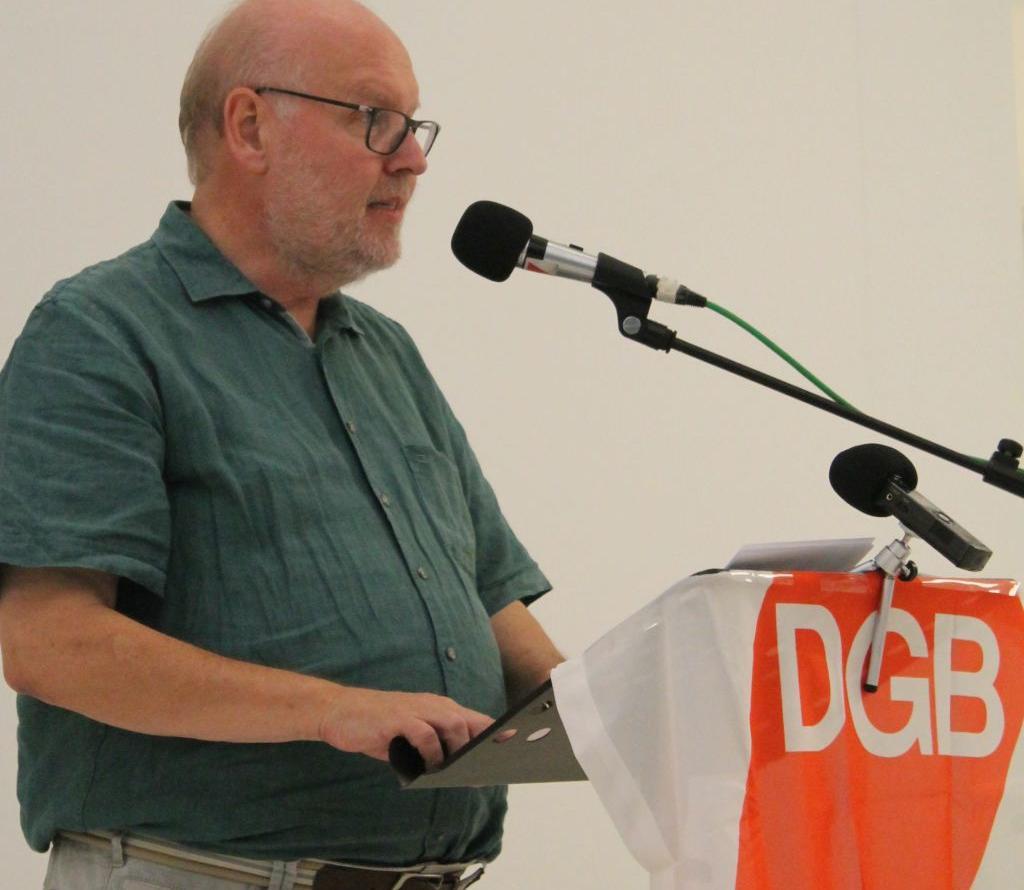 "Bernhard Löffler bei der Vernissage zur Ausstellung ""Matagalpa Transfer"""