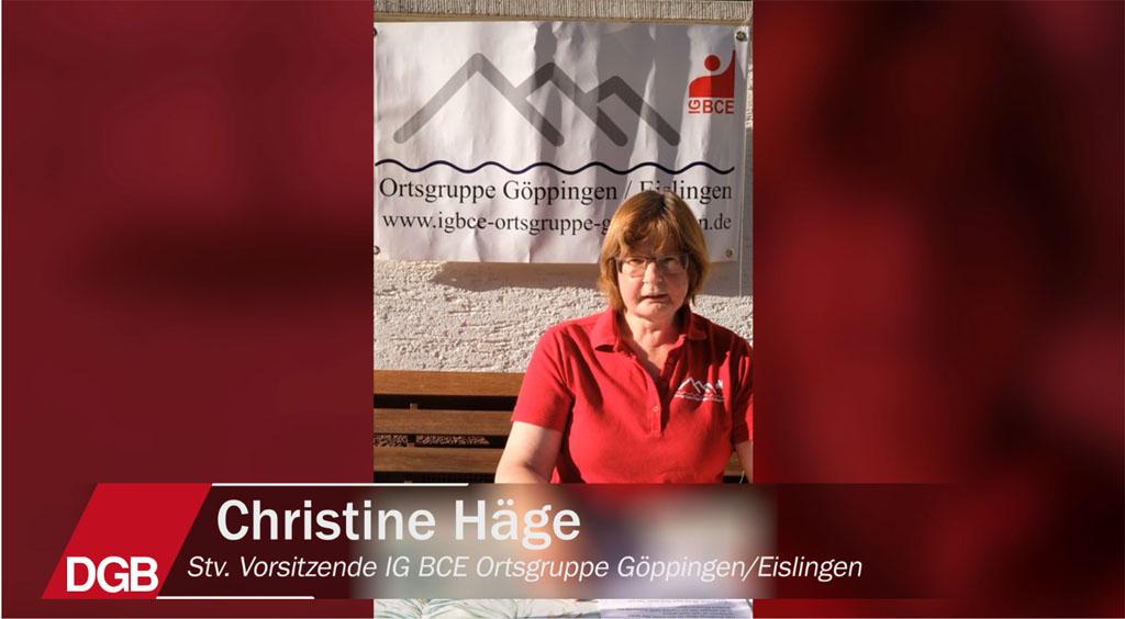 Christine Häge, stellvertretende Vorsitzende der IG BCE Ortsgruppe Göppingen/Eislingen wünscht uns Glück auf
