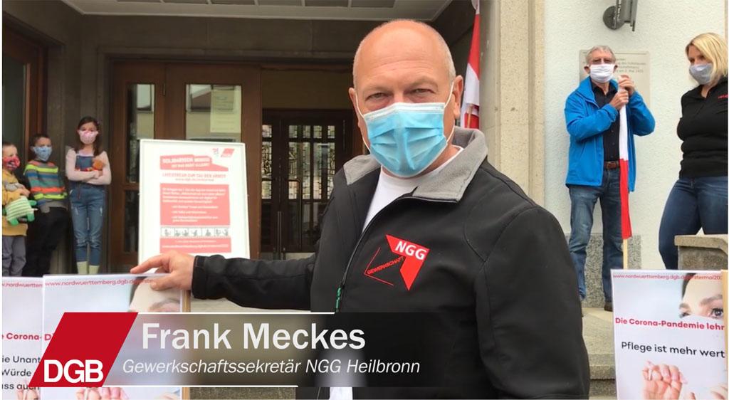 Frank Meckes, Gewerkschaftssekretär der NGG Heilbronn fordert nicht nur jetzt systemrelevante Berufe angemessen zu bezahlen