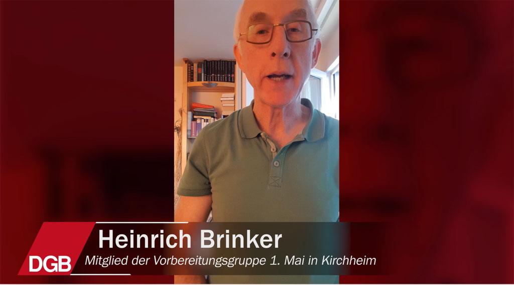 Heinrich Brinker von der Vorbereitungsgruppe des 1. Mai in Kirchheim unter Teck sagt seine Gedanken zur Gesellschaft
